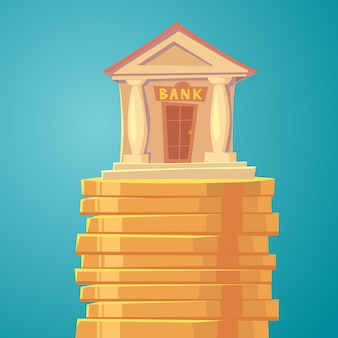 Illustrazione classica della banca con pilastri