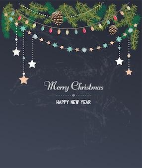 Modello classico di buon natale e felice anno nuovo con rami di abete.