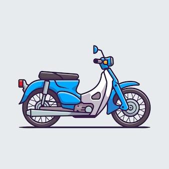 Illustrazione dell'icona del fumetto del motociclo classico. concetto dell'icona del veicolo del motociclo isolato. stile cartone animato piatto