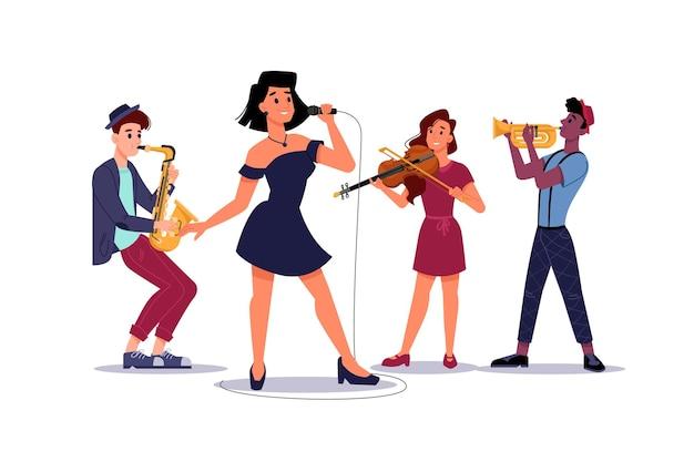 Banda di musica classica, cantante solista donna, sassofonista e trombettista