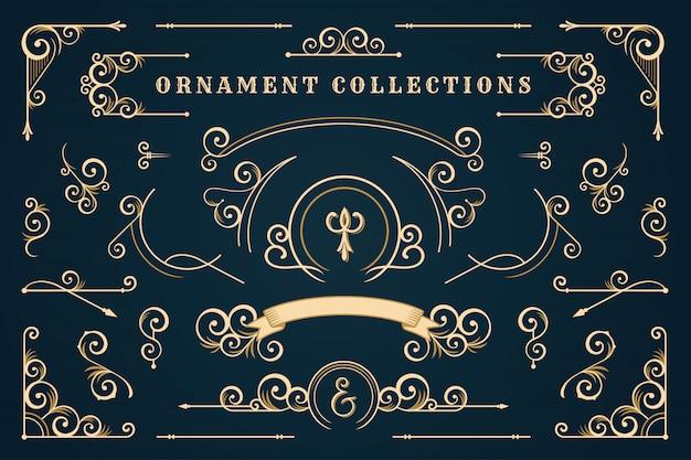 Cornice classica ornamento, set di bordi vintage