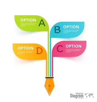 Classic pen infographic 4 scelta