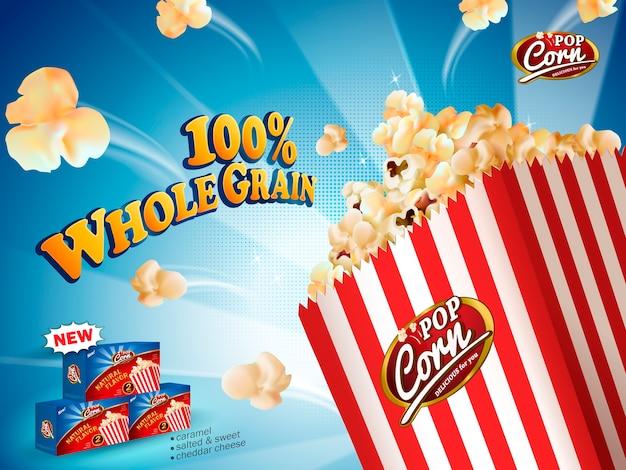 Annunci popcorn classici, popcorn deliziosi che volano fuori dalla scatola di cartone su sfondo a strisce blu nell'illustrazione