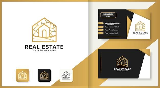 Design classico del logo immobiliare e biglietto da visita