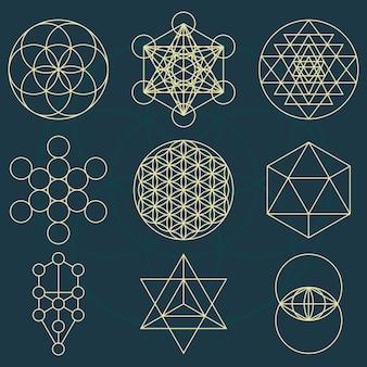 Simboli decorativi classici della geometria sacra come il fiore della vita seme della vita cubo di metatron