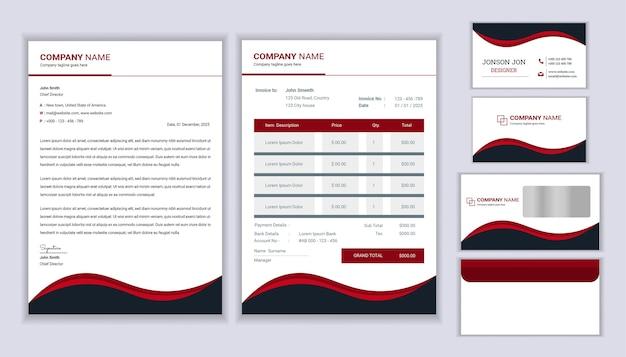 Design classico del marchio aziendale di cancelleria con modello di carta intestata, fattura e biglietto da visita.