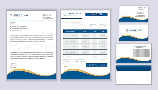 Design classico di identità aziendale business di cancelleria con modello di carta intestata, fattura e biglietto da visita.