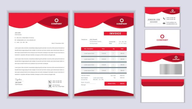 Design classico di identità aziendale aziendale di cancelleria con modello di carta intestata, fattura e biglietto da visita.