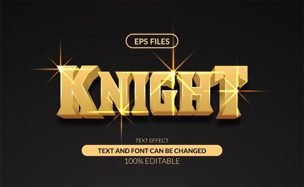 Effetto di testo modificabile classico cavaliere d'oro forte