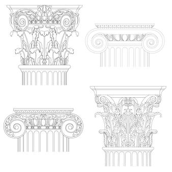 Colonna di stile classico, set vettoriale