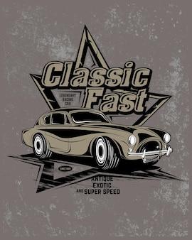 Classic super car, super classic car illustrazione