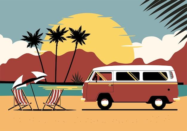 Furgone classico sullo sfondo del paesaggio tropicale astratto.