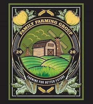 Illustrazione incorniciata d'annata classica per il gruppo agricolo della famiglia