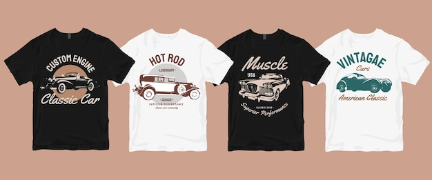 Pacchetto di magliette classiche per auto retrò vintage