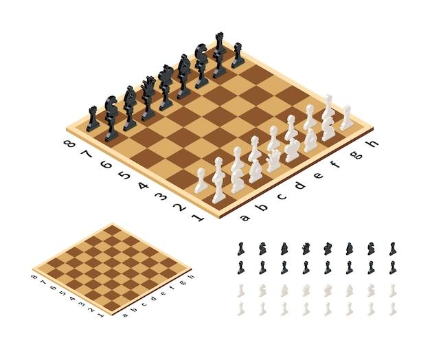Scacchiera classica con figure di scacchi in vista isometrica su bianco