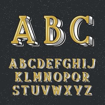 Carattere serif decorativo classico per poster e cartelli con scritte. carattere tipografico latino retrò.