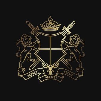 Modello di disegno di araldica classica luxury crest logo