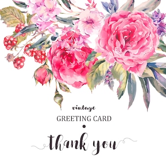 Biglietto di auguri floreale vintage classico, bouquet naturale di rose