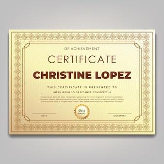 Modello di certificato cornice ornamento classico vintage