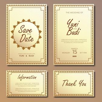 Invito a nozze vintage classico con modello di cornice ornamento Vettore Premium