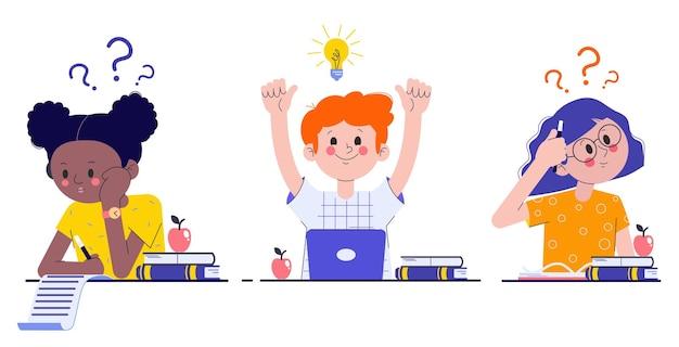 Compagni di classe all'esame. ragazze e un ragazzo che svolgono un compito in classe. apprendimento e conoscenza.
