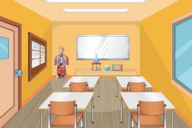 Interior design della classe con mobili e decorazioni