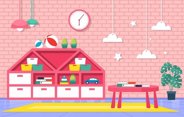 Illustrazione della scuola dei bambini di scuola materna elementare di educazione interna dell'aula