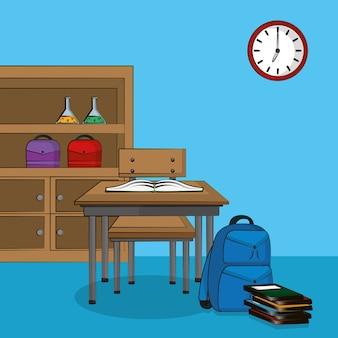 Interno dell'aula con progettazione grafica dell'illustrazione di vettore di paesaggio del fumetto dei rifornimenti