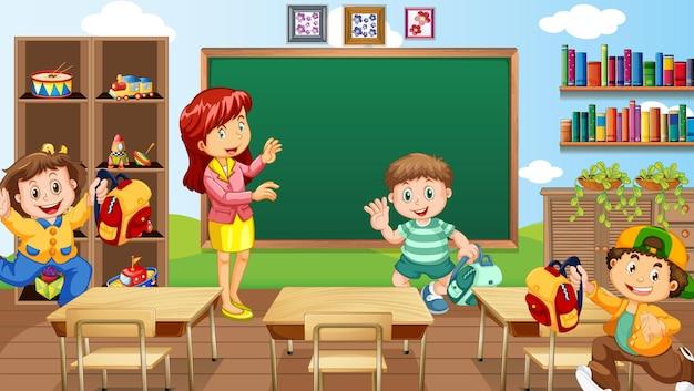 Scena in classe con insegnante e bambini