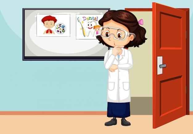 Scena dell'aula con l'insegnante nella stanza