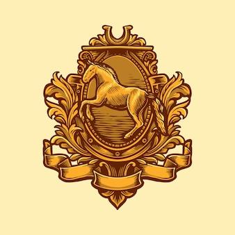 Elegante logo cavallo con ornamento