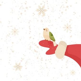 Claus tiene in mano un uccello. illustrazione di cartone animato.