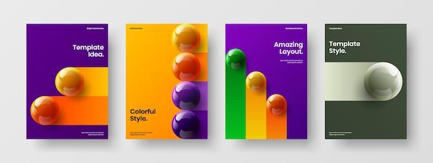 Pacchetto layout di copertina del libro con sfere 3d pulite