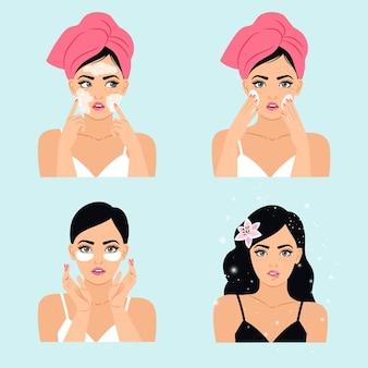 Routine di bellezza pulita. cartone animato giovane donna romantica usa cosmetici detergenti, illustrazione vettoriale di elementi termali per il trucco e il trattamento della pelle isolata su sfondo bianco