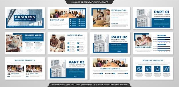 Modello di presentazione aziendale pulito con stile minimalista