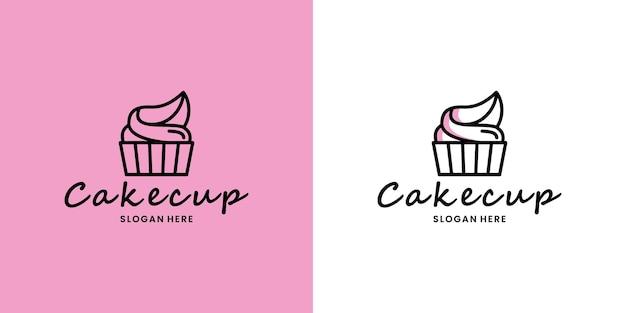 Vettore di progettazione del logo della tazza della torta pulita