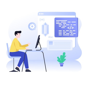 Sviluppatore web di illustrazione piatta di codifica pulita che fa programmazione