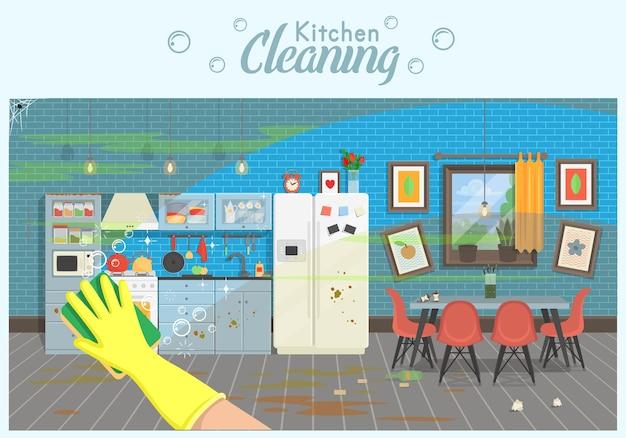 Cucina pulita e sporca con tavolo e frigorifero