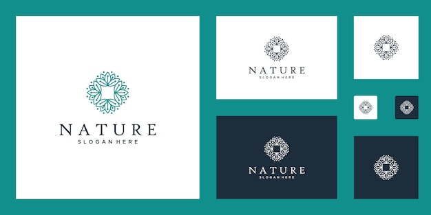 Fiori astratti puliti ed eleganti che ispirano loghi di bellezza, yoga e spa design.
