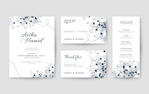 Modello di invito matrimonio bianco pulito ed elegante