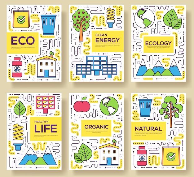 Set di linee sottili di carte di energia pulita. modello di risorse naturali di flyear, copertina del libro, banner.