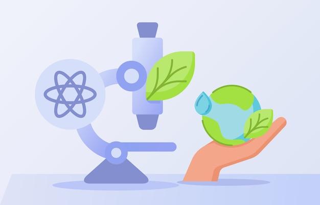 Concetto di ricerca di energia pulita con foglia sul microscopio e icona del mondo con uno stile piatto
