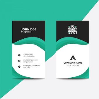 Biglietto da visita pulito business design verde piega stile corporate business
