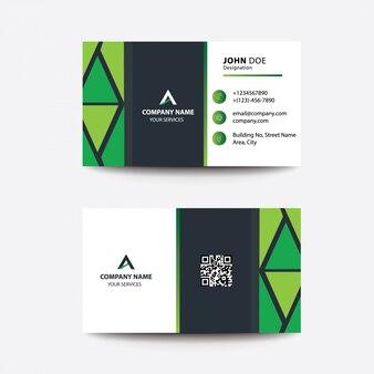 Biglietto da visita di affari di stile piano verde gradiente gradi pulito