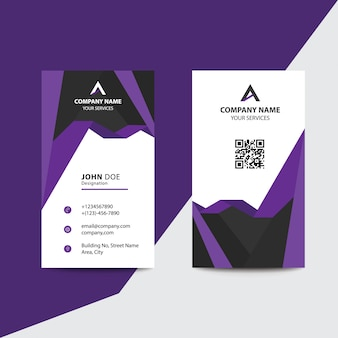 Biglietto da visita pulito business design violet fold aziendale