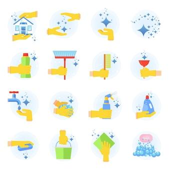 Set di icone vettoriali piatte pulite. raccolta di strumenti per la pulizia in mano. il lavoro domestico fornisce l'imballaggio, illustrazione di concetto di stoviglie per l'igiene pulita domestica colorata. oggetti isolati su sfondo bianco.