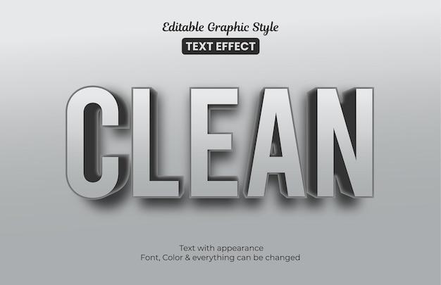 Effetto 3d grigio pulito. effetto di testo in stile grafico modificabile