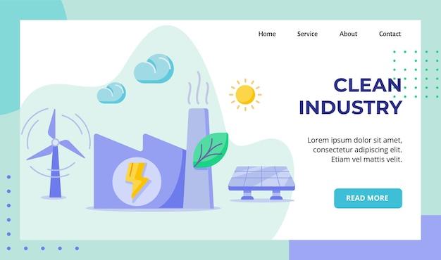 Fabbrica di industria pulita che costruisce campagna di energia solare eolica a foglia verde per la pagina di destinazione della home page del sito web
