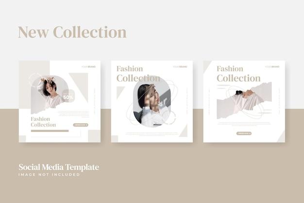 Collezione di modelli di post sui social media di vendita di moda pulita e minimalista