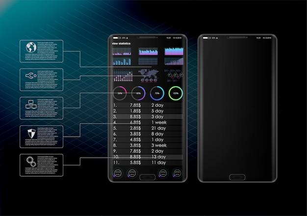 Clean mobile ui design concept. trendy mobile banking. tecnologia di criptovaluta. bitcoin exchange. analisi finanziaria. modello di applicazione aziendale di trading.